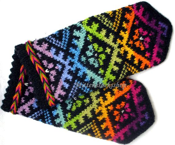 Rainbow winter gloves Hand knitted wool by MittensSocksShop