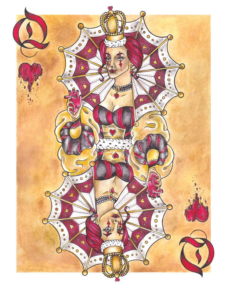 """Original drawing by Whitney Wilkie """"Queen of Hearts"""" Full color Prints 11x14 $20"""