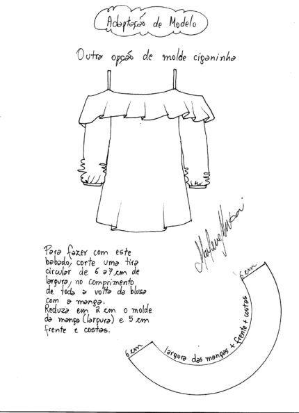 molde de como fazer blusa cigana                                                                                                                                                     Mais