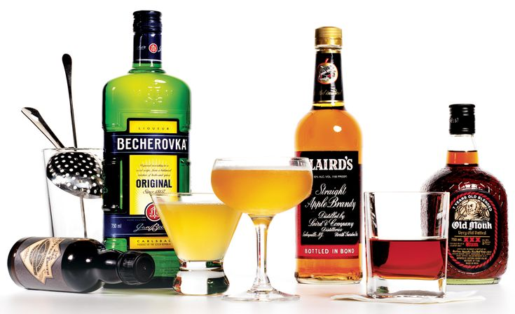 Three of our favorite fall mixed drinks: Becherovka, Laird's Bonded Apple Brandy, and Old Monk Rum.
