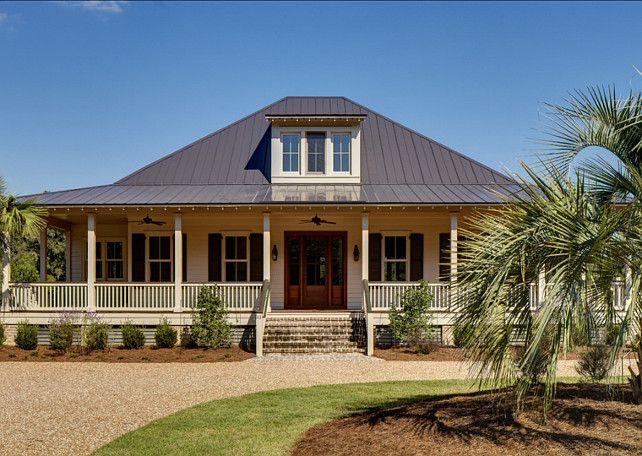 """Home Exterior Paint Color Ideas. Traditional Home Exterior Paint Color Ideas According to the designer, the roof is a Kynar finish called """"Zinc Grey"""", also called """"Gunmetal"""" or """"Charcoal"""". Different metal roof suppliers have different names – sort of like paint. The brick is a """"Savannah Grey"""". The body of the house was painted to match one of the standard window sash colors.  #HomeExterior #PaintColor"""