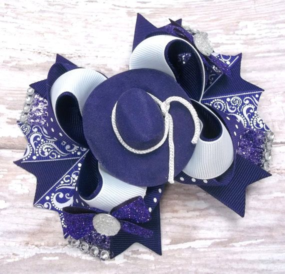 Purple Country Western Hair Bow  Boutique by JustinesBoutiqueBows