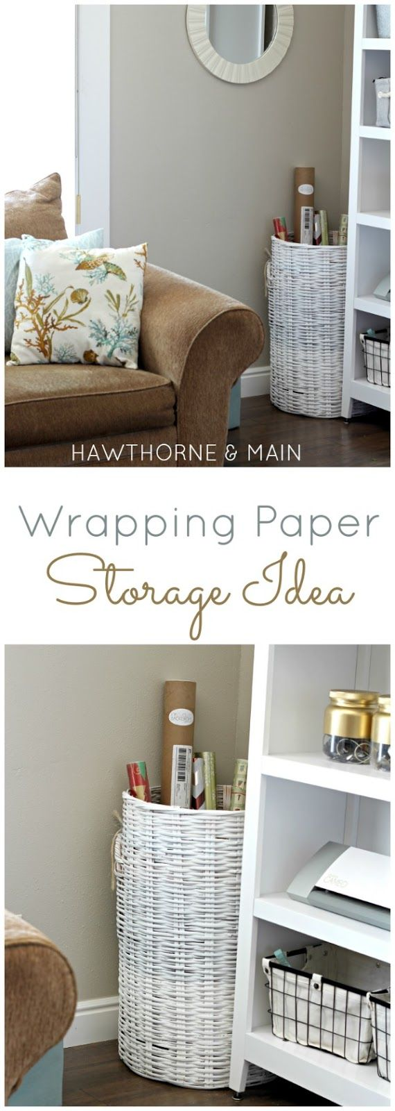 Gift wrapping supplies can be hard to store.  Come see how I finally got mine under control and organized!!