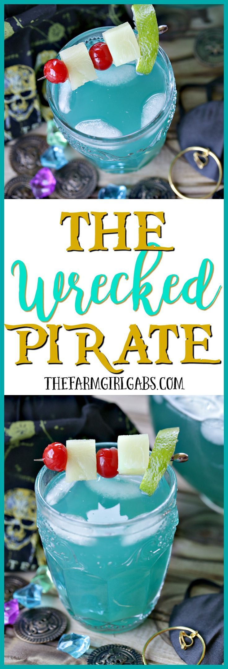 Disney Recipe - perfect for celebrating summer and the release of the newest Pirates of the Caribbean Movie!  | A  refreshing Disney-Inspired Wrecked Pirate Cocktail for adults!