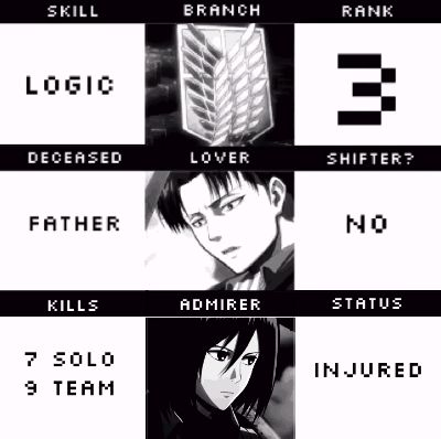 I got: (Take a screenshot to find out) SKILL: 3DMG. BRANCH: scouting regiment. RANK: 1. DECEASED: sister. LOVER: Eren. SHIFTER: no KILLS: 16 solo/20 team. ADMIRER: Marco. STATUS: alive