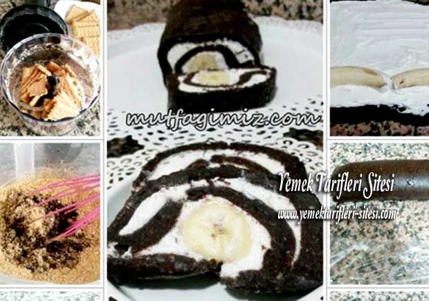 Bisküviden Muzlu Kolay Rulo Pasta Tarifi
