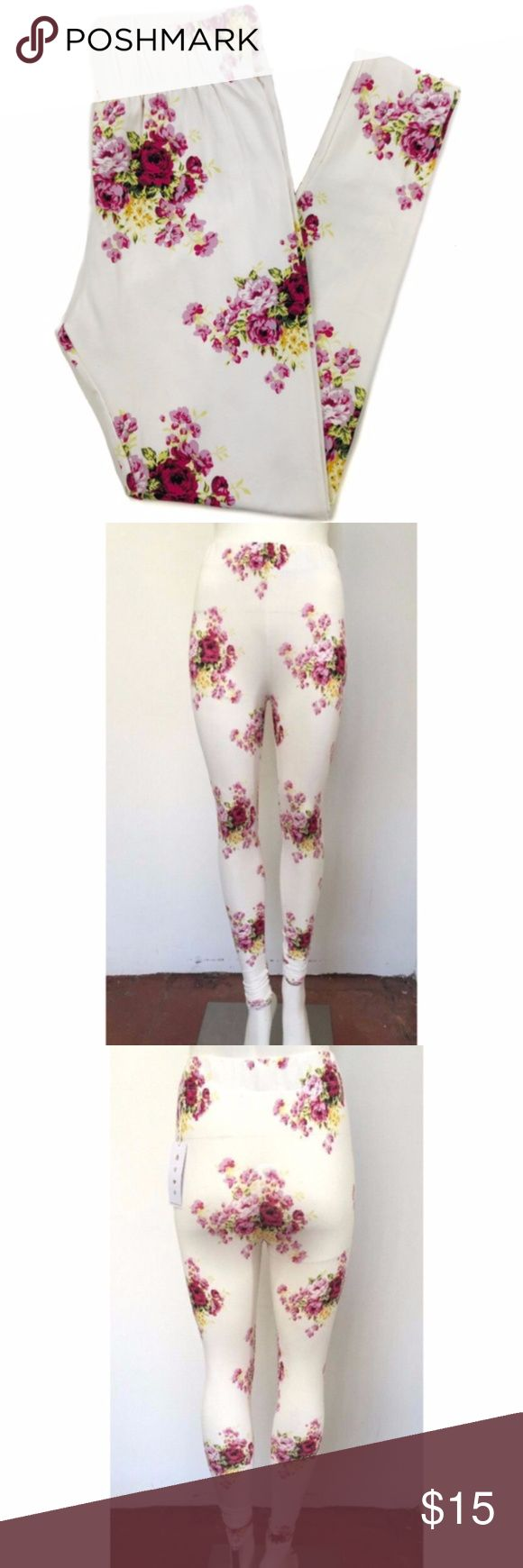 Spiritual Gangster White Floral Leggings NWT Spiritual Gangster White Floral Leggings  White/Pink/Yellow  Includes 3 Size Small Leggings  94% Cotton & 6% Lycra  Size Large New with tags Spiritual Gangster Pants Leggings
