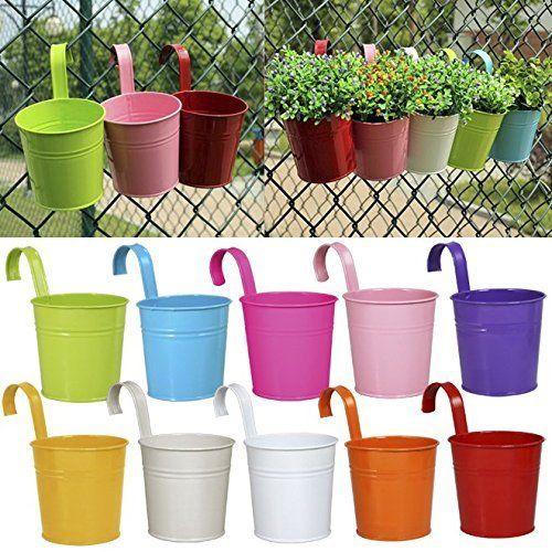 Ogima 10 Piece Metal Iron Hanging Flower Pots, Multicolor... https://www.amazon.com/dp/B01BWO558O/ref=cm_sw_r_pi_dp_x_BMPWyb9GG7YXJ