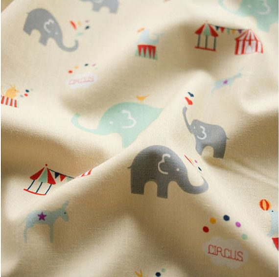 Organic Cotton Fabric Elephants By the Yard 45637 - 125 on Etsy, $23.50