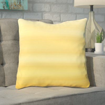 "Mercury Row Aguero Ombre Watercolors Throw Pillow Color: Mimosa, Size: 16"" H x 16"" W"
