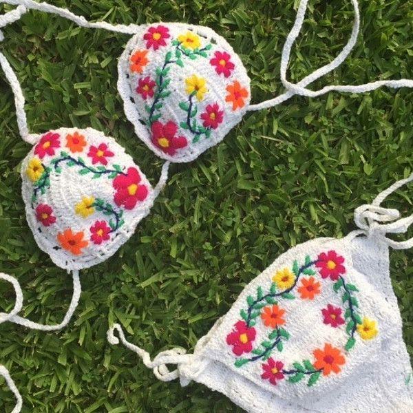 Swimwear – Embroidery Crochet Bikini – a unique product by takkabeachwear on DaWanda