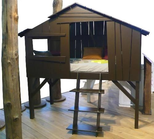 Bunk bed turned tree house. Pretty cool!