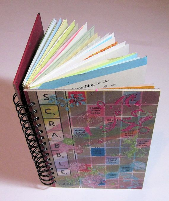 Junk Journal Recycled Scrabble Game Board by heavensentcrafts, $30.00