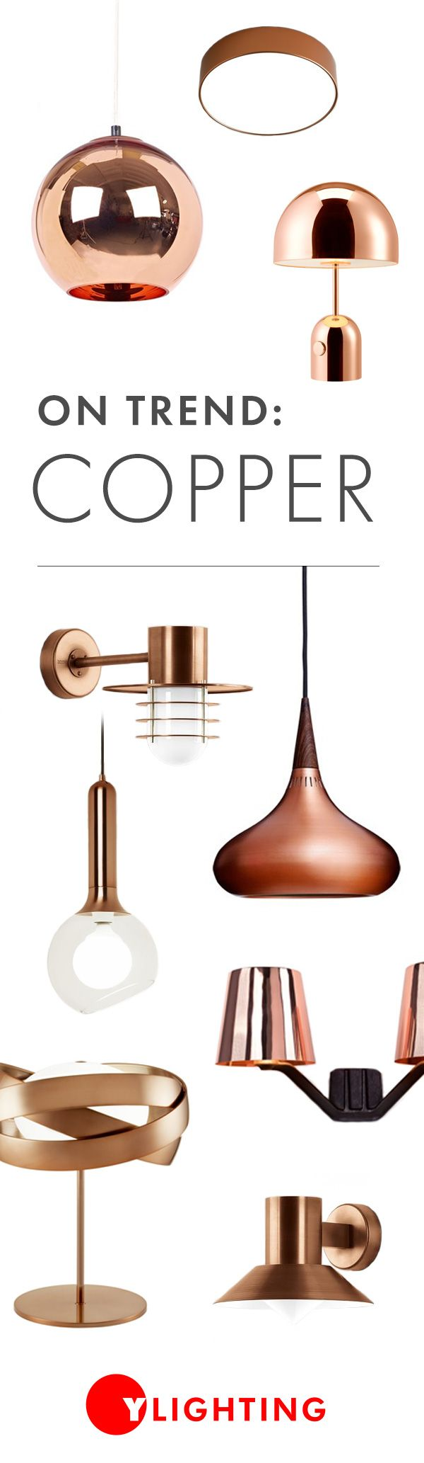 Copper has been trending all year, and now's the time to add the heat and warmth of copper's earthy tone to your modern space. http://www.ylighting.com/search/?No=0&Nrpp=48&Ntt=copper