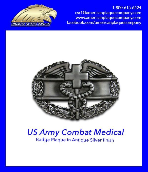 The Us Army Combat Medical Badge in striking Antique Silver finish. #USArmy #CombatMedics #USVeterans