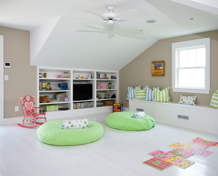 white simple frog finished room over garage turned clean and orderly playroom - Room Over Garage Design Ideas