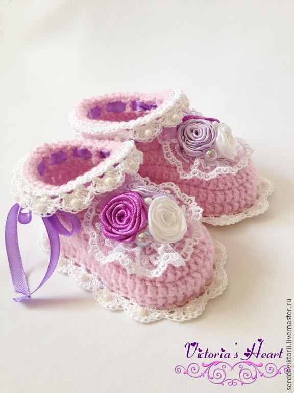 """Купить Пинетки """"Розочки"""" - бледно-розовый, Вязание крючком, вязание на заказ, вязание, вязаные пинетки ♡"""