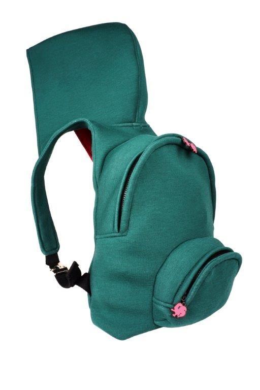 MORIKUKKO / Basic Green Fuchsia Kapüşonlu Sırt Çantası