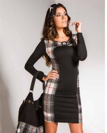 Fehu Black with Plaid Dress - 53740