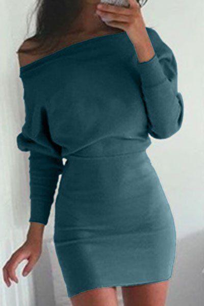 Skew Neck Packet Buttocks Sheath Dress GREEN: Bodycon Dresses | ZAFUL