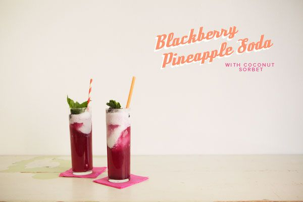 Blackberry Pineapple Soda with Coconut Ice Cream | Recipe on Oh Happy Day!