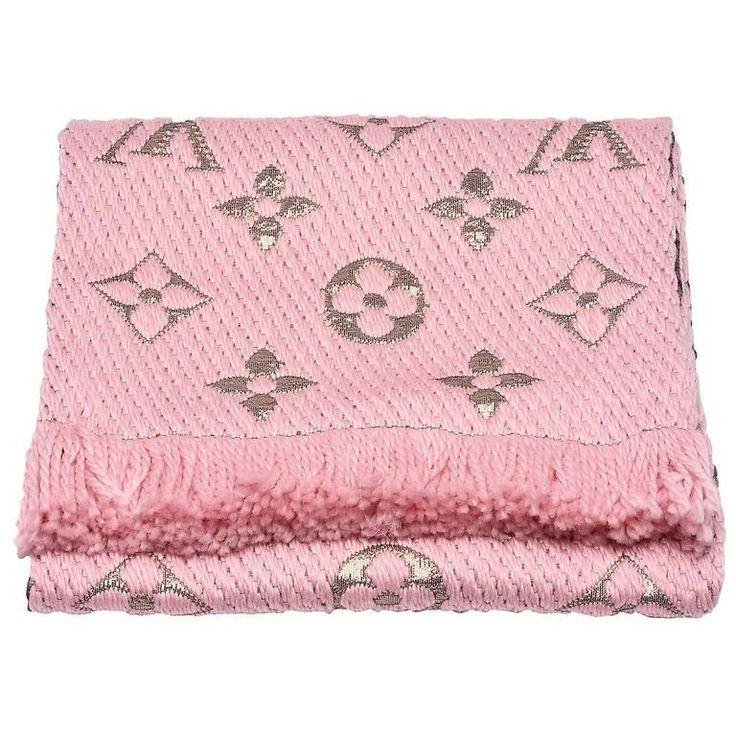 Louis Vuitton Logomania Shine Wool Scarf Pink Lurex