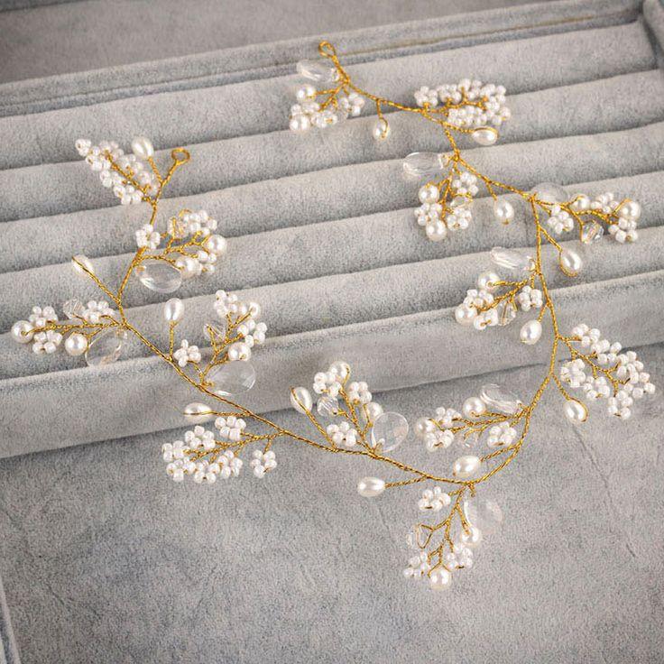 Купить товарЗолотые hairbands свадебные тиара жемчужная свадьба корона люкс для волос аксессуары головы ювелирные изделия свадебные аксессуары для волос в категории Украшения для волосна AliExpress.     bride tiaras and crowns wedd