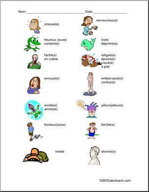 Présentation graphique du vocabulaire des sentiments avec un exercice écrit.. Avancé
