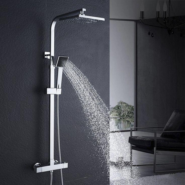 auralum set asta doccia completo muro soffione per miscelatore termostatica con cascata pioggia soffione - Regendusche Grohe
