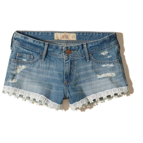Hollister Low-Rise Denim Short-Shorts (€22) ❤ liked on Polyvore featuring shorts, bottoms, ripped medium wash, hot pants, frayed denim shorts, low rise jean shorts, destroyed denim shorts and ripped denim shorts