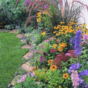 Nice flower bed with rock edging