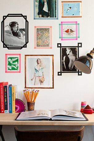 20 Washi Tape Ideas - Make colorful wall frames with washi tape