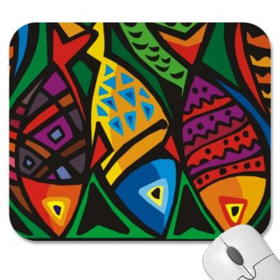 Abstract Fish Paintings | Abstract Art Fish Mousepad from Zazzle Yazzle | Zazzle Dazzlers