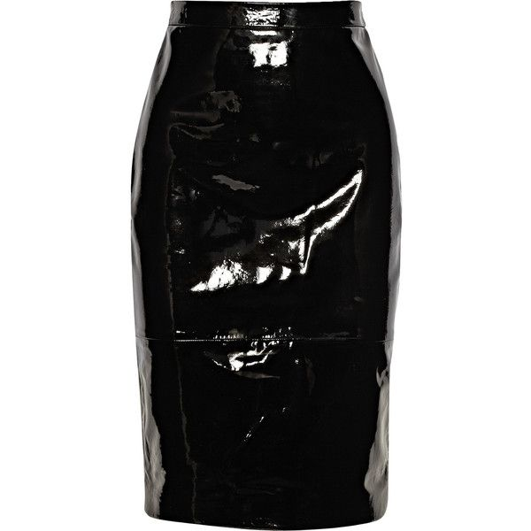 Givenchy Pencil skirt in black patent-leather (10.765 ARS) ❤ liked on Polyvore featuring skirts, bottoms, givenchy, saias, black, wet look skirt, zipper pencil skirt, patent leather skirt, shiny skirt and givenchy skirt
