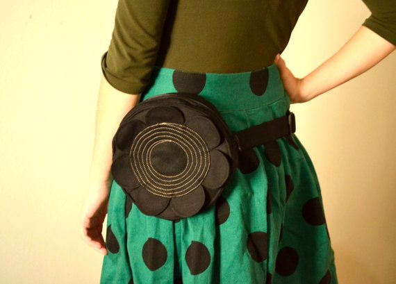 Black Flower fanny pack belt bag small purseparty by ritaboth121, $42.00