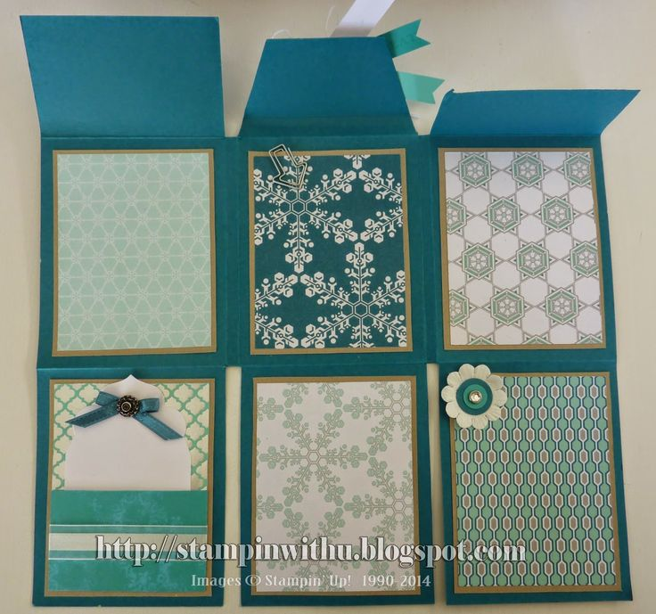 "Beautiful mini album created with one sheet of 12"" x 12"" card .... Fully opened"