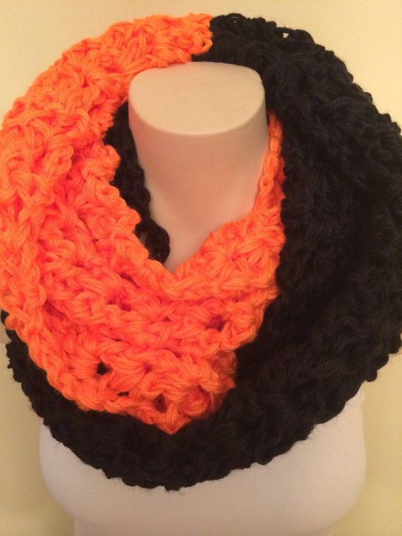 iScarf  Long Crocheted Infinity Scarf  Black/Neon by iHooked