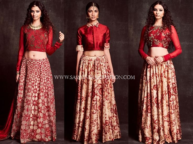 Red Lehenga and Crop Tops