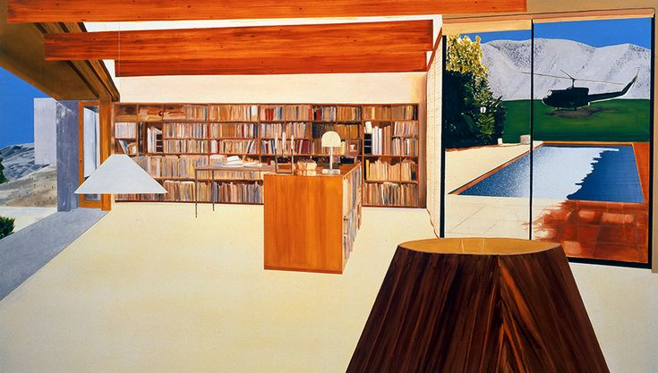 """Dexter Dalwood, Camp David, 1999 Oil on Canvas. 198 x 335 cm  """"Dalwood often begins his creative process by producing small-scale collages, which he then works into large-scale paintings — a method resulting in pieces with a slightly fragmented, cinematic quality, evocative of the way memories can sometimes appear."""""""