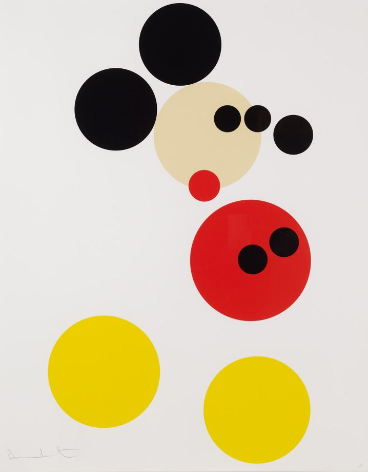 Damien Hirst, Mickey Mouse, 2012. Household gloss paint on canvas. Hirst was asked by Disney for his take on Mickey Mouse. The painting was auctioned off by Christie's in February 2014 for a children's charity Hirst supports.