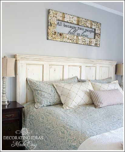 Old Door New Headboard - I purchased this door for $20 at a local junk store. A door with panels works best for this projec…