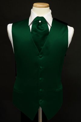 new HUNTER GREEN satin tuxedo tux VEST ASCOT CRAVAT tie themarriedapp.com hearted