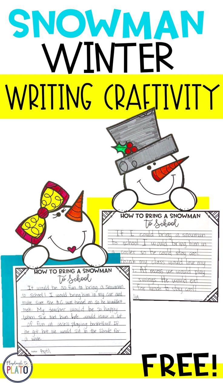 Free Snowman Writing Craftivity! I love this writing prompt! Such a cute idea for winter writing with kindergarten and first grade kids! #PlaydoughtoPlato #winterwritingcenters #literacyfreebies #teachersfollowteachers