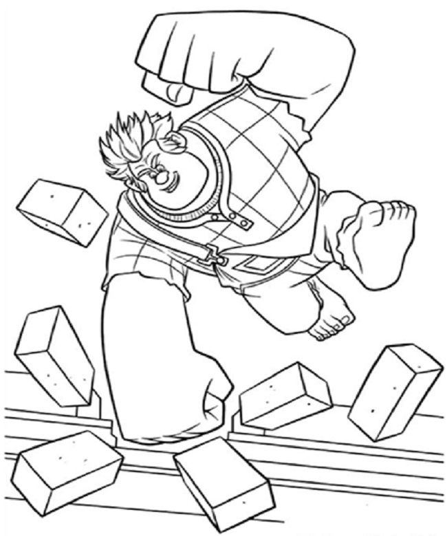 Wreck it ralph coloring pages coloring pages pinterest for Free wreck it ralph coloring pages