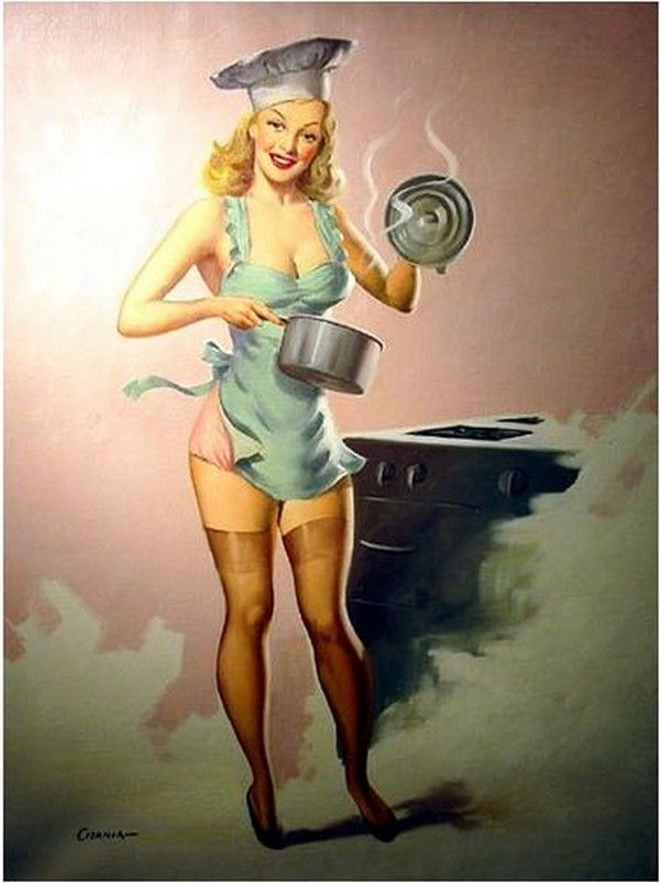 Women naked Vintage cooking