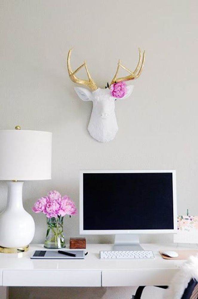 I always love white, gold and pink (flowers) together.  Whiteout office. White rooms. Home office. Modern chic office with white/gold deer head and antlers