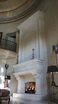 Palazzo Fireplace Mantel - mediterranean - fireplaces - oklahoma city - by DeVinci Cast Stone