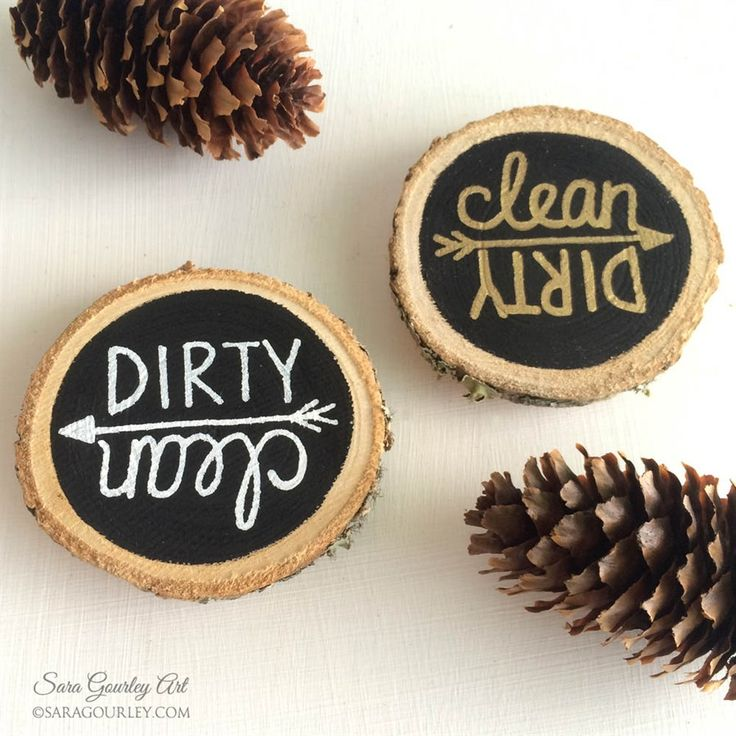 Add rustic charm to your kitchen with this lovely hand-painted wood slice dishwasher magnet! Never guess again whether those dishes are clean or not! It features white or gold lettering on a black chalkboard background.
