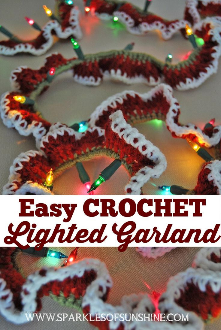 Make an easy crochet lighted garland to decorate your home for the holidays. Free pattern at Sparkles of Sunshine.