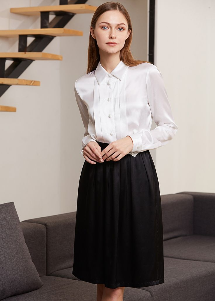 22MM Button Front Pleated Silk Shirts